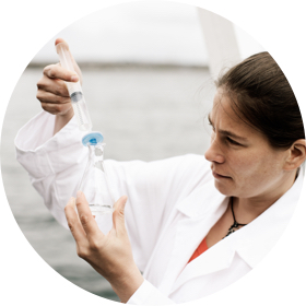 woman checking water quality