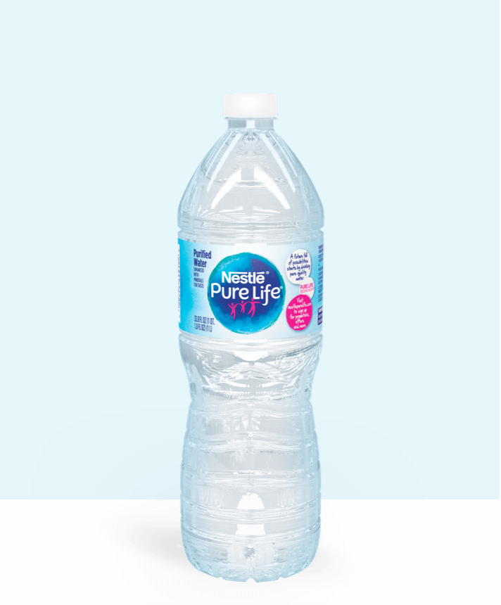 1 liter bottle of nestle pure life purified water