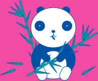 panda icon with bamboo