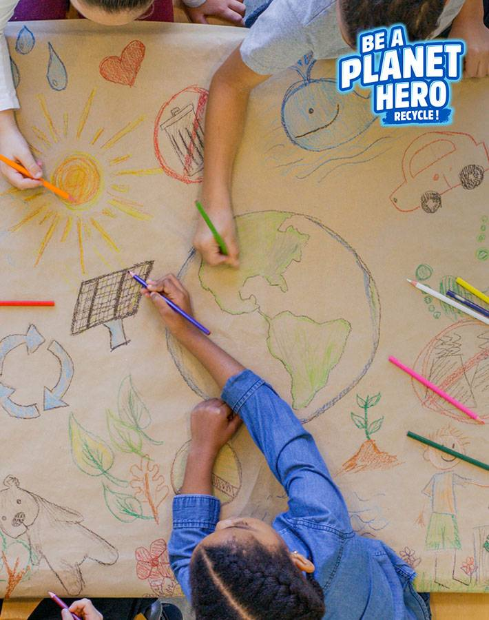 children drawing a recycling-themed wallpaper